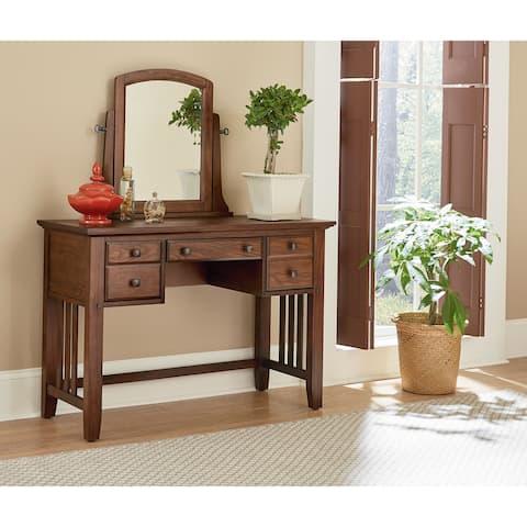 OSP Home Furnishings Modern Mission Bedroom Vanity and Mirror in Vintage Oak Finish