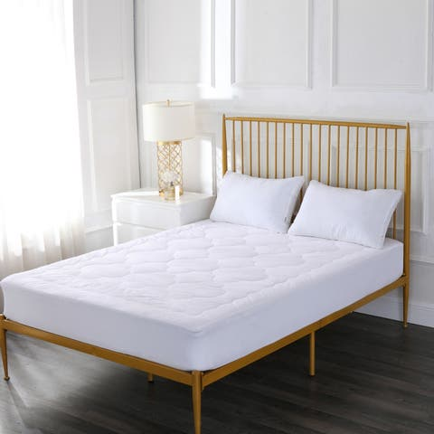 Cottonloft Unique Cloud Stich Design Self Cooling 100% Cotton Mattress Pad, 100% Cotton Fill and Cover - White