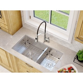 Ancona Undermount Double Offset Handemade 32 in. Sink with Palmero Faucet Combo