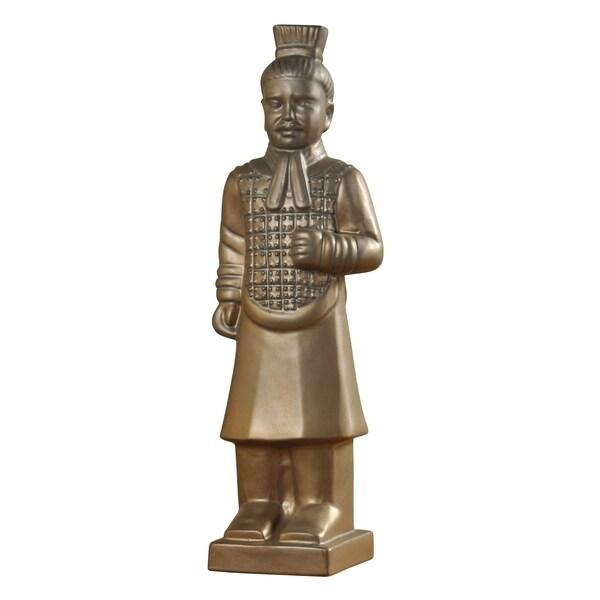 Harp & Finial Qin Gold Matte Finish Soldier Ceramic Statue