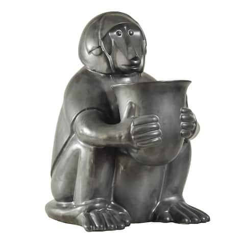 Harp & Finial Gambia Charcoal Gray Monkey Bowl Ceramic Statue