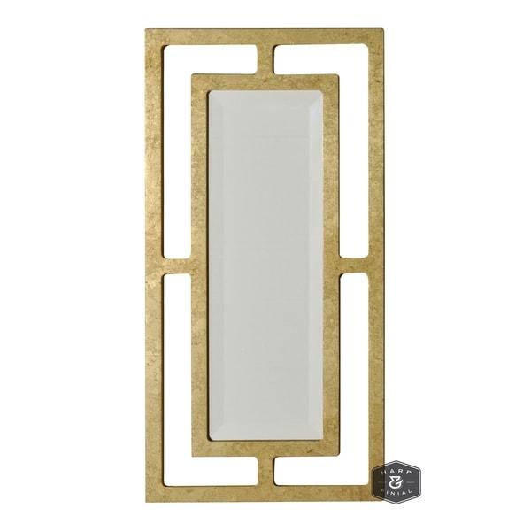 Harp & Finial York 24-inch Plain Beveled Glass Mirror - Gold Leaf Metal Frame