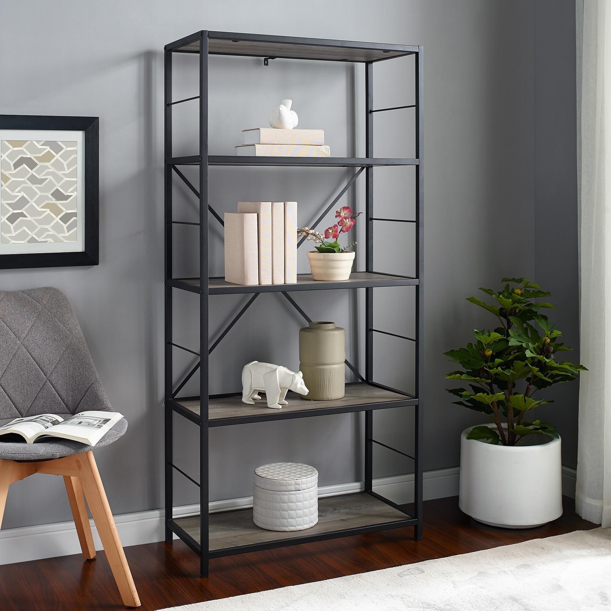 Carbon Loft Ora 4 Shelf Grey Wash Bookshelf