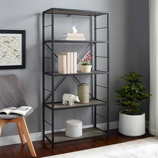 Industrial Rustic Metal and Wood Media Bookshelf - Grey Wash