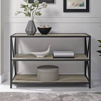 Industrial X-Frame Metal and Wood Media Bookshelf