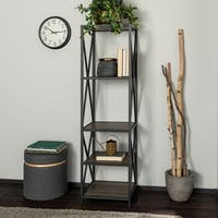 Industrial Metal X Tower with Wood Shelves
