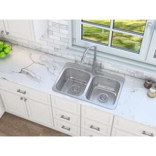 Ancona Topmount Double 32 in. Sink with Signature II Faucet Combo
