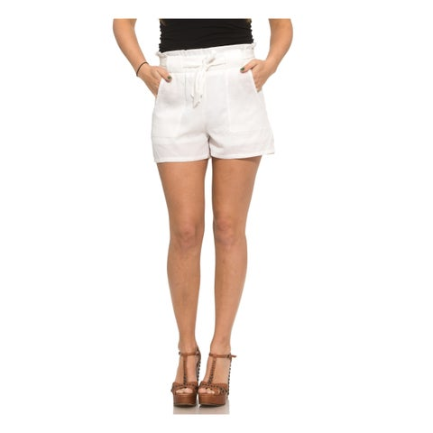 Ladies Linen Belted Shorts with Pockets