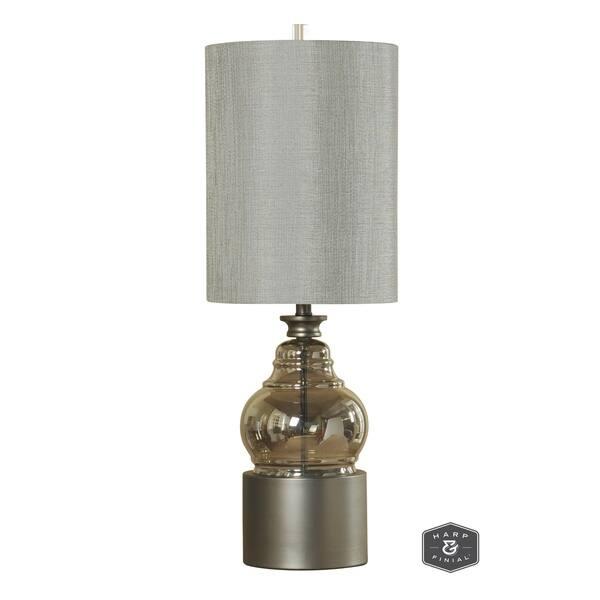 Harp Finial Cordoba 1 Light Champagne Table Lamp With Plated Metal Base Grey Hardback Fabric Shade