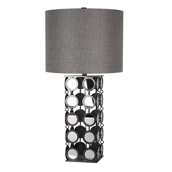Harp Finial Hyatt 1 Light Plain Mirror And Hand Printed Gunmetal Table Lamp Grey Hardback Fabric Shade