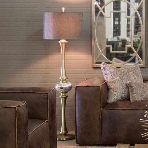 Strick & Bolton Arroyo Antique Brass/ Brown Fabric Floor Lamp