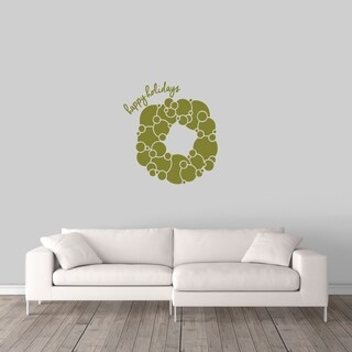 Happy Holidays Wreath Wall Decal - MEDIUM