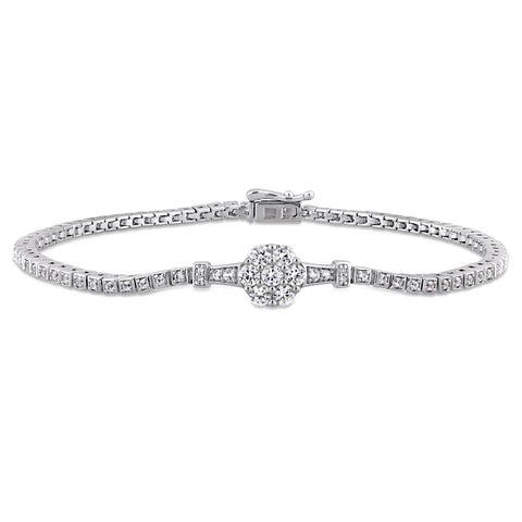 Miadora Sterling Silver Created White Sapphire and Diamond Floral Tennis Bracelet