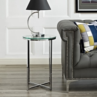 Silver Orchid Madsen 16-inch Modern Round Side Table - 16 x 16 x 24h