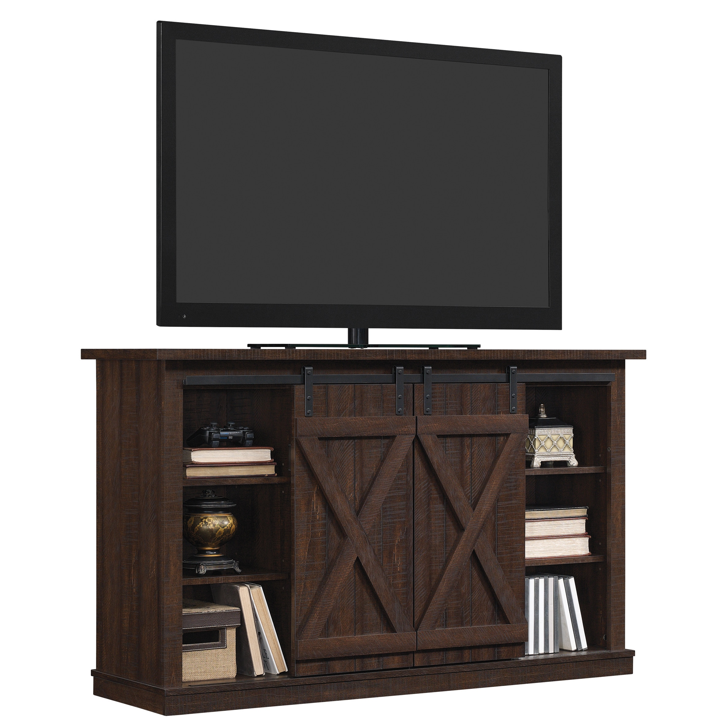Cottonwood Tv Stand For Tvs Up To 60 Inches Sawcut Espresso Overstock 21214836