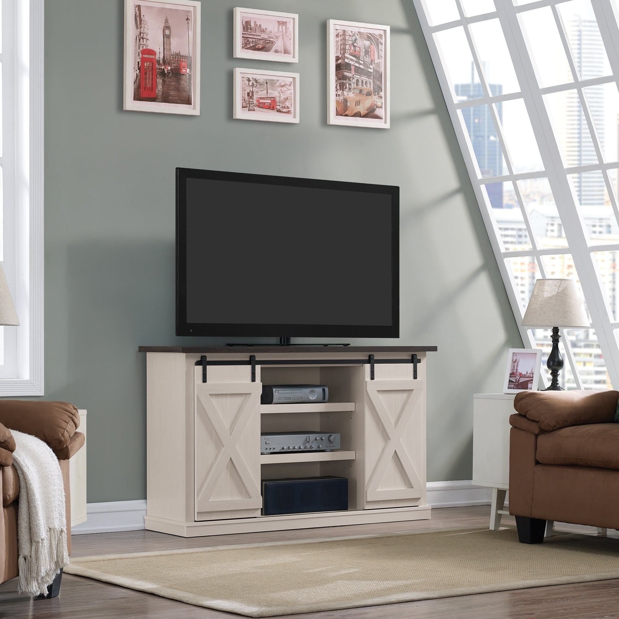 Cottonwood Two Tone TV Stand For TVs Up To 60 Inches, Old Wood White