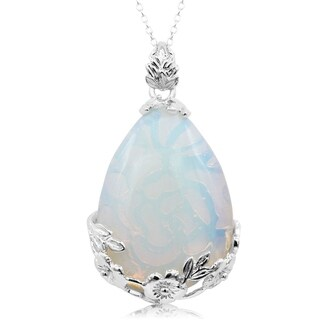 Sterling Silver Opal Teardrop Necklace With Rose Accents, 18 Inches - White