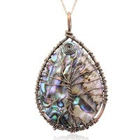Sterling Silver Tree of Life Wire Wrapped Abalone Teardrop Necklace, 18 Inches - Purple