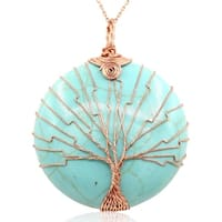 Rose Gold Over Sterling Silver Tree of Life Wire Wrapped Turqoise Circle Necklace, 18 Inches - Green