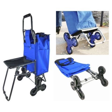Shopping Dolly Climbing Wheeled Rolling Stair Foldable Trolley Cart - Folding Climb Storage Grocery Cart With Tri Wheels & Seat