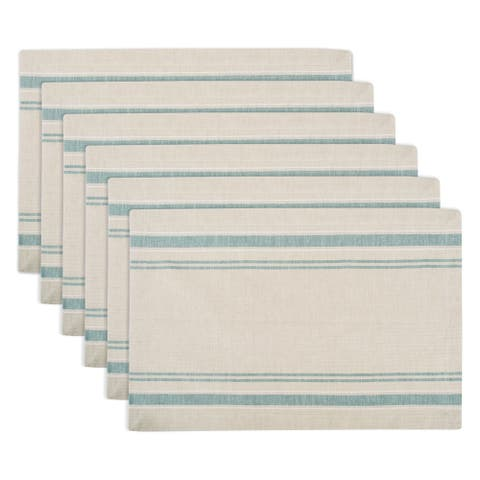 Design Imports Teal French Stripe Kitchen Placemat Set (Set of 6)