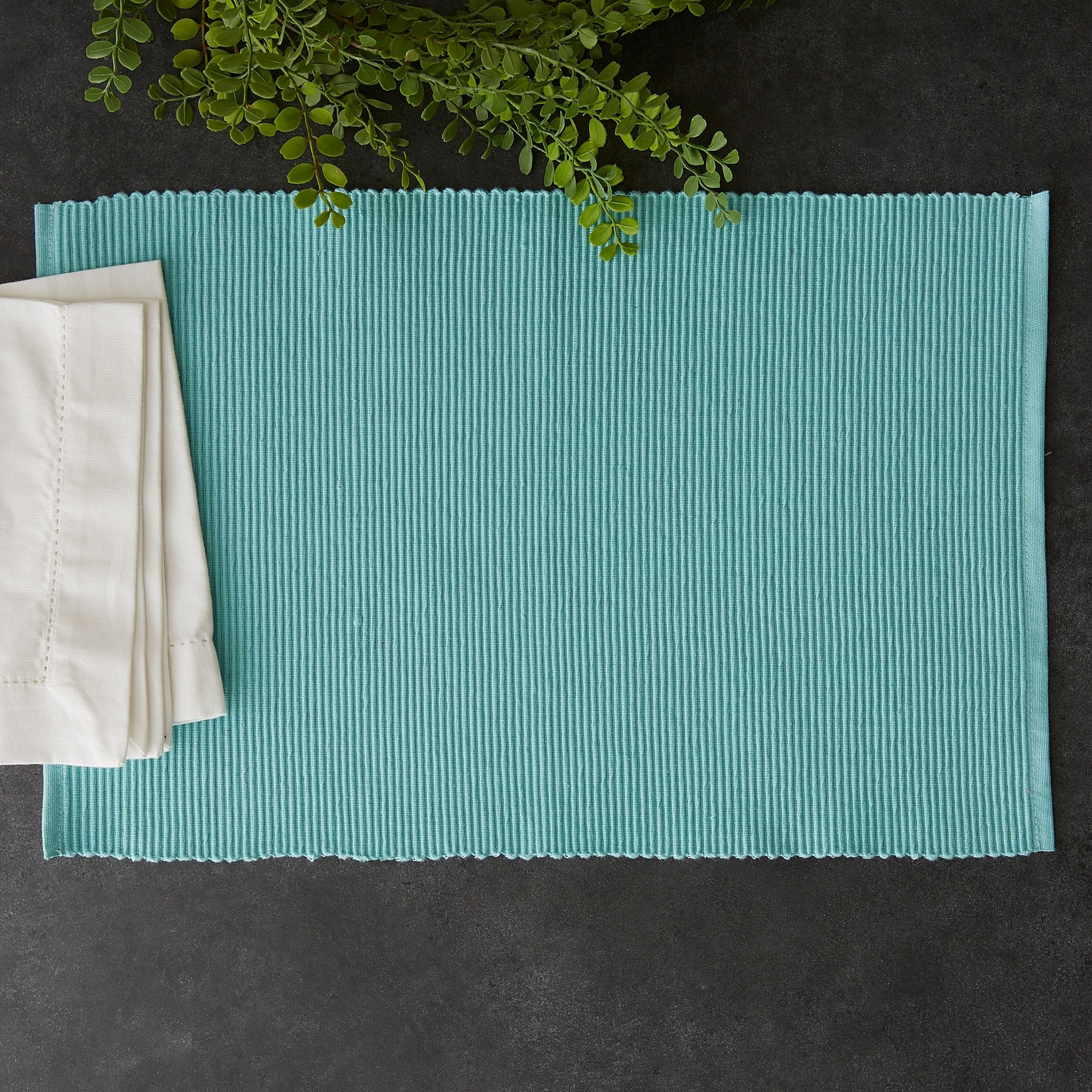 Design Imports HABANERO RED Cotton Ribbed Weave Placemat