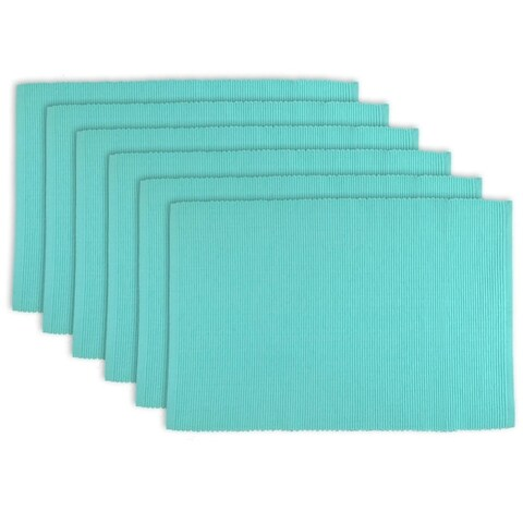 Design Imports Aqua Ribbed Kitchen Placemat Set (Set of 6)