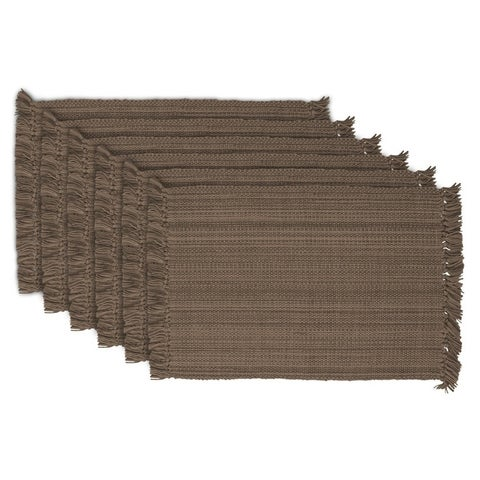 Design Imports Fringe Brown Variegated Kitchen Placemat Set (Set of 6)