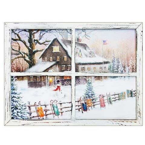 """""""Snowman with sleds"""" LED Light Canvas by Opportunties, Window-Style"""