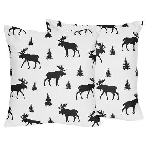 Sweet Jojo Designs Black Woodland Moose Rustic Patch Collection 18-inch Decorative Accent Throw Pillows (Set of 2)