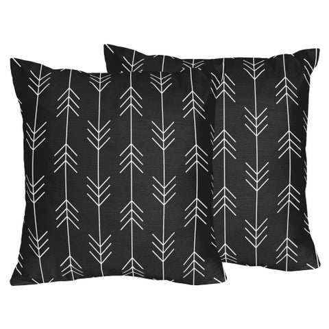 Sweet Jojo Designs Black White Woodland Arrow Rustic Patch Collection 18-inch Decorative Accent Throw Pillows (Set of 2)