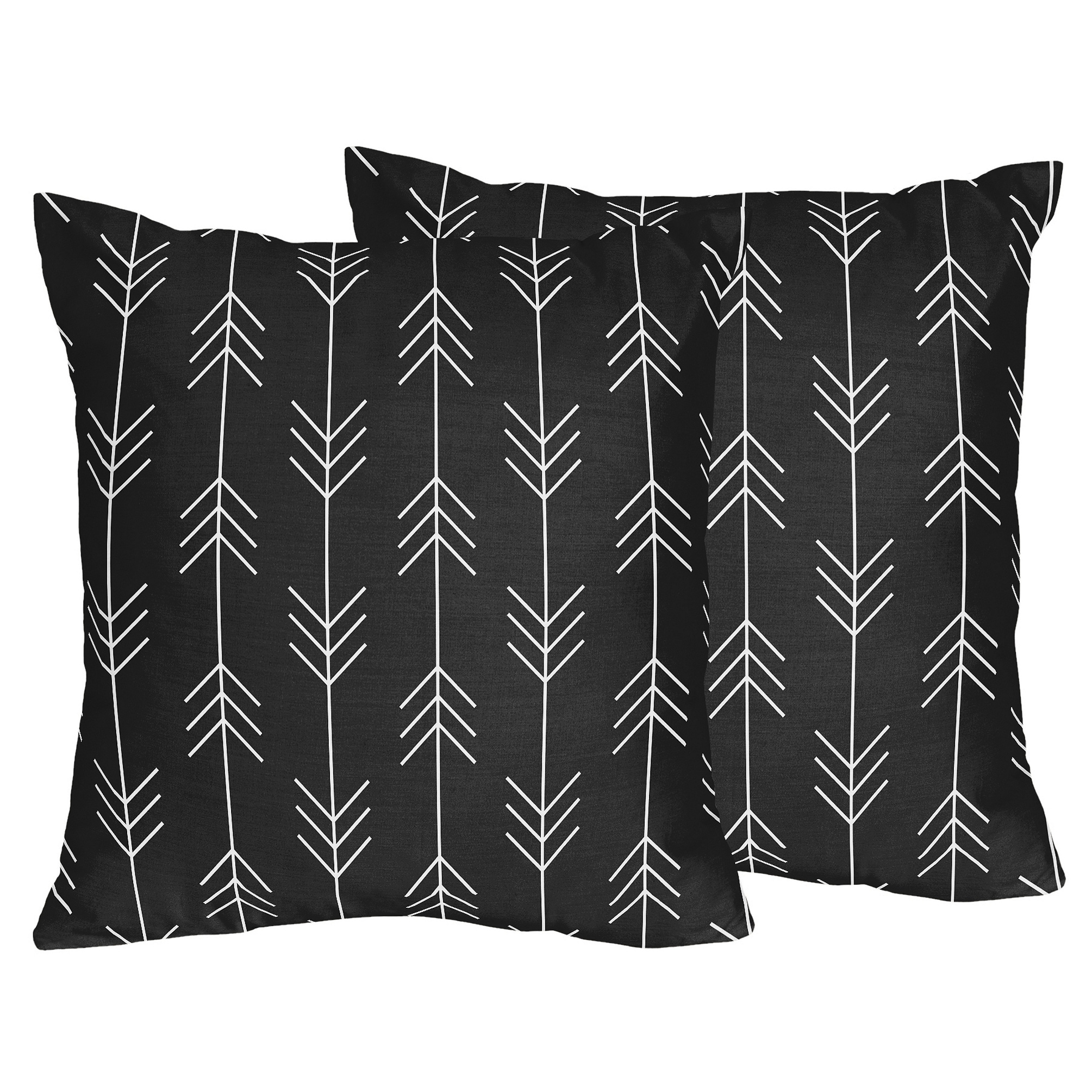 Sweet Jojo Designs Black White Woodland Arrow Rustic Patch Collection 18 Inch Decorative Accent Throw Pillows Set Of 2