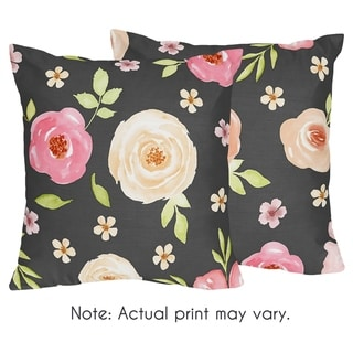 Sweet Jojo Designs Black and Blush Pink Watercolor Floral Collection 18-inch Decorative Accent Throw Pillows (Set of 2)