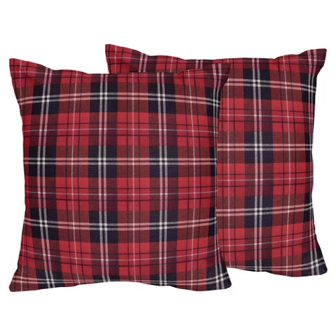 Sweet Jojo Designs Red Woodland Plaid Flannel Rustic Patch Collection 18-inch Decorative Accent Throw Pillows (Set of 2)