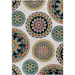 Central Terrace Tropic 084 Burnette Snow/Multicolor Area Rug (7' 10 x 9' 10)