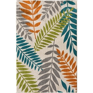 "Courtyard Tropic Leaf snow/multi 6'7"" x 9'6"""
