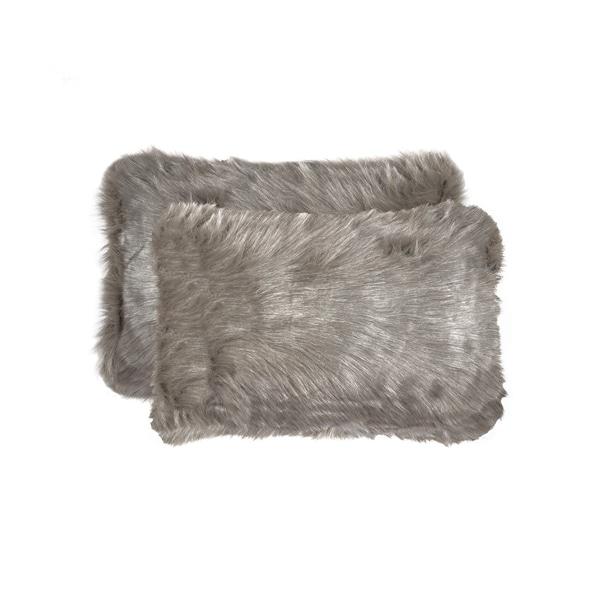 Belton Faux Fur Pillow 12x20 - Grey - 2-Pack