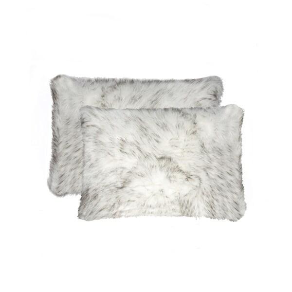 Belton Faux Fur Pillow 12x20 - Gradient Grey - 2-Pack