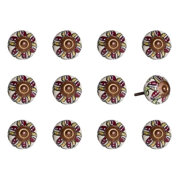 Knob-It Vintage Handpainted Ceramic Knob (12-Pack)
