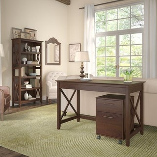 Key West 48W Writing Desk, Mobile File Cabinet and Bookcase in Cherry