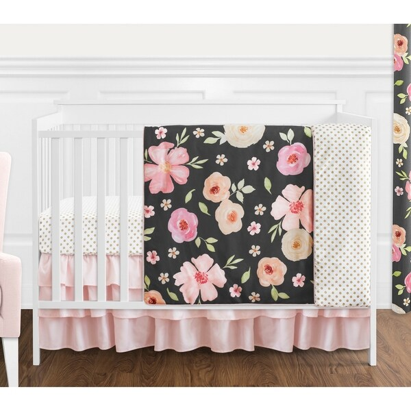Sweet Jojo Designs Black, Blush Pink and Gold Shabby Chic Watercolor Floral Collection Girl 4-piece Crib Bedding Set