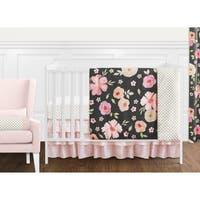 Sweet Jojo Designs Black, Blush Pink and Gold Shabby Chic Watercolor Floral Collection Girl 11-piece Crib Bedding Set