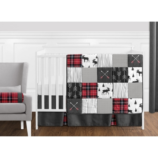 Sweet Jojo Designs Grey, Black and Red Woodland Plaid and Arrow Rustic Patch Collection Boy 11-piece Crib Bedding Set