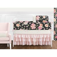 Sweet Jojo Designs Black, Blush Pink and Gold Shabby Chic Watercolor Floral Collection Girl 9-piece Crib Bedding Set