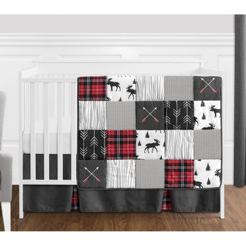 Sweet Jojo Designs Grey, Black and Red Woodland Plaid and Arrow Rustic Patch Collection Boy 4-piece Crib Bedding Set