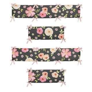 Sweet Jojo Designs Black and Blush Pink Shabby Chic Watercolor Floral Collection Baby Crib Bumper Pad