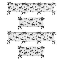 Sweet Jojo Designs Grey, Black and White Woodland Moose Rustic Patch Collection Baby Crib Bumper Pad