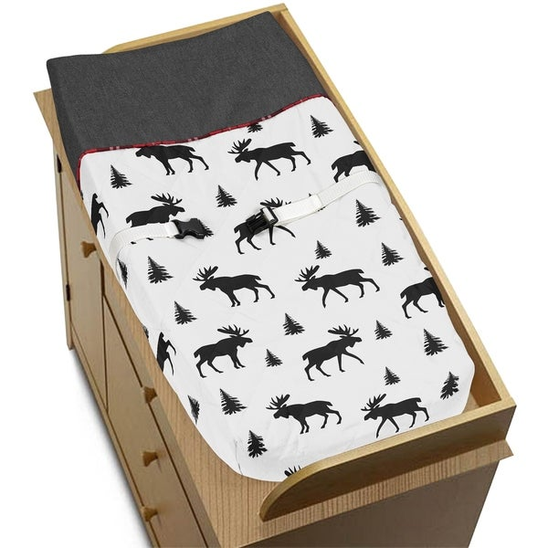 Sweet Jojo Designs Grey, Black and Red Woodland Plaid and Moose Rustic Patch Collection Changing Pad Cover