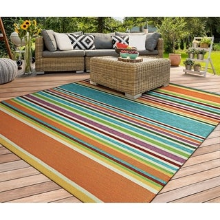 Miami Amber Multicolor Area Rug Indoor/Outdoor Area Rug - 2' x 4'