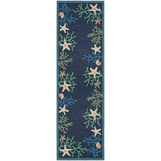 "Picadilly Coral Reef Blue-Green Indoor/Outdoor Runner Rug - 2'6"" x 8'6"" Runner"